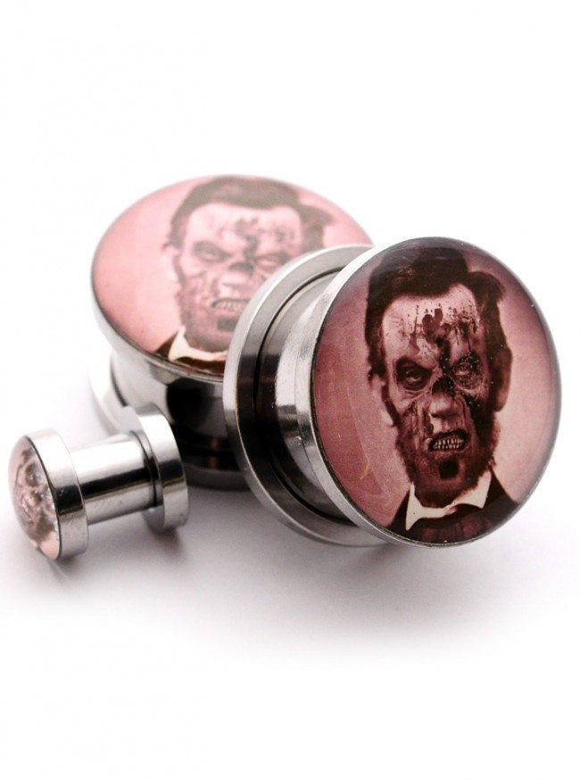 Zombie Abe Lincoln Plugs by Mystic Metals - www.inkedshop.com