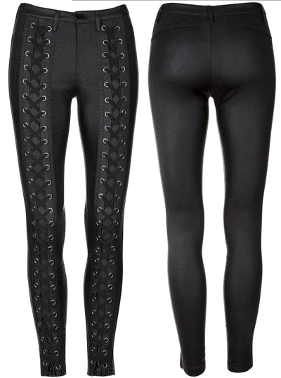 Women's Aces High Shiny Laced Up Skinny Fit Pants by Pretty Attitude Clothing