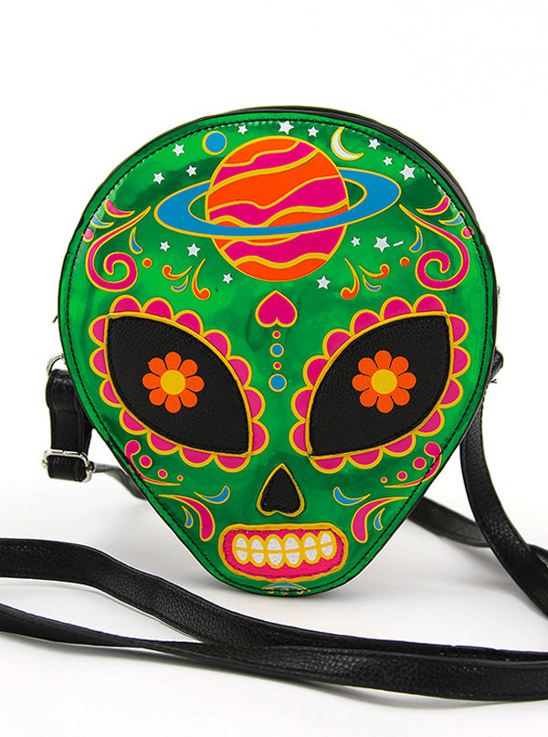 Sugar Skull Alien Crossbody Bag