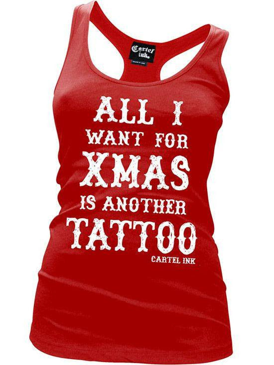 "Women's ""All I Want For Xmas"" Racerback Tank by Cartel Ink (Red) - www.inkedshop.com"
