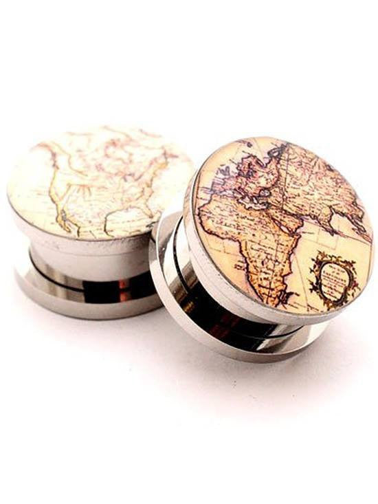 Antique Map Style 2 Plugs by Mystic Metals - www.inkedshop.com