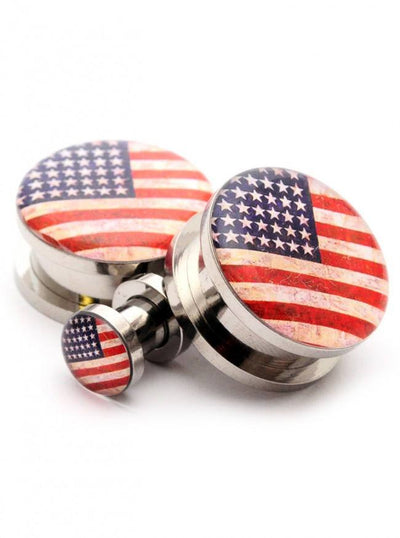 American Flag Picture Plugs by Mystic Metals - www.inkedshop.com