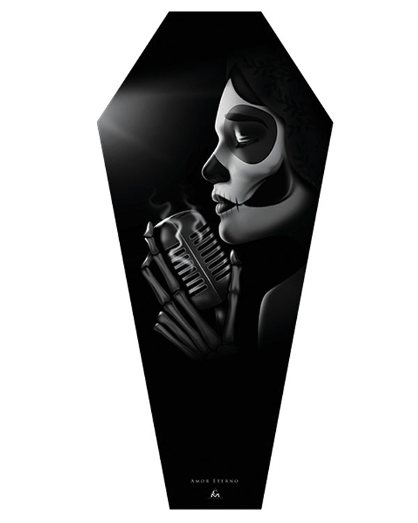 Amor Eterno Canvas Coffin by Charlie Medina for Black Market Art Company
