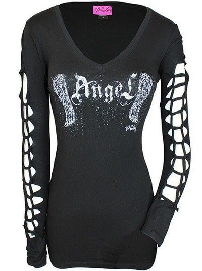 "Women's ""Distressed Angel"" V Neck Tee by Demi Loon (Black) - www.inkedshop.com"