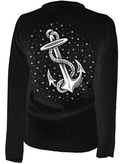 "Women's ""Anchors Aweigh"" Cardigan by Pinky Star (Black) - www.inkedshop.com"