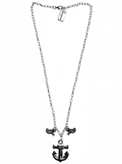 """Anchor"" Charm Necklace by Sourpuss (Silver) - www.inkedshop.com"