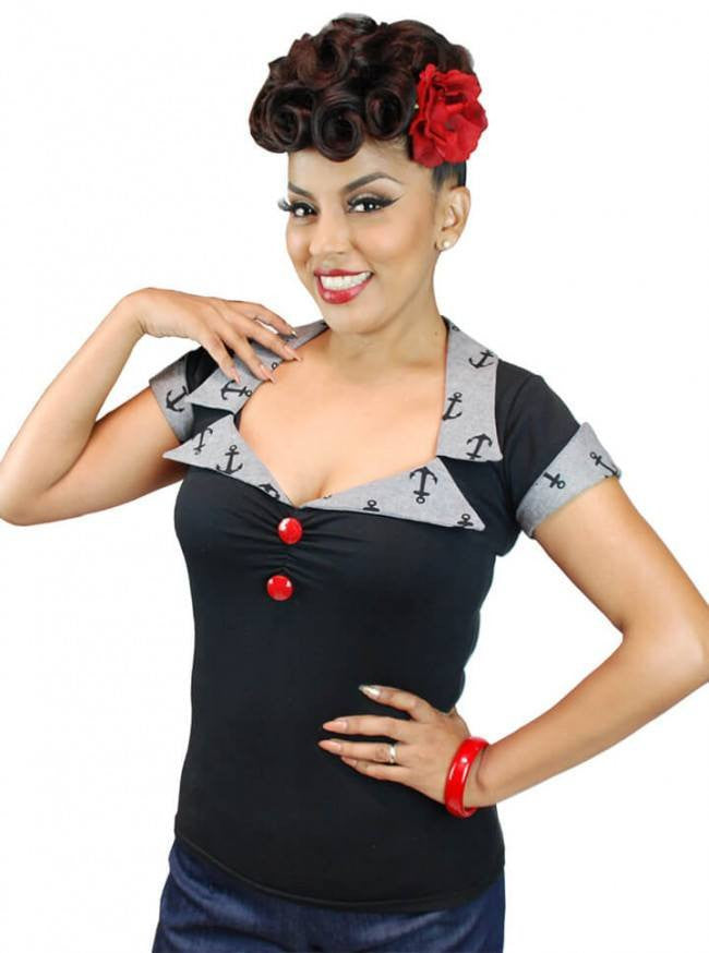 "Women's ""Anchor"" Top by Pinky Pinups (Black) - www.inkedshop.com"