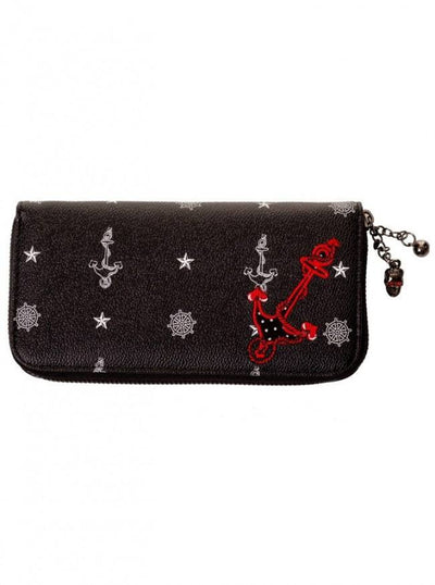 "Women's ""Anchor"" Wallet by Banned Apparel (Black) - www.inkedshop.com"