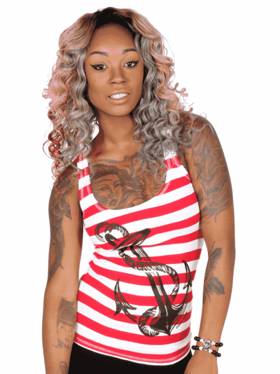 "Women's ""Anchors Aweigh"" Tank by Pinky Star (White/Red) - InkedShop - 2"