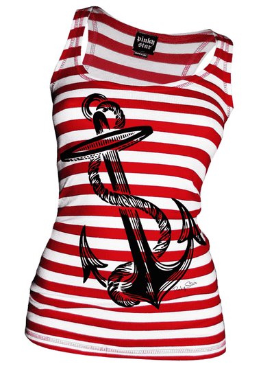 "Women's ""Anchors Aweigh"" Tank by Pinky Star (White/Red) - InkedShop - 1"