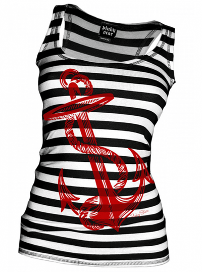 "Women's ""Anchors Aweigh"" Tank (Black/White) by Pinky Star - InkedShop - 1"