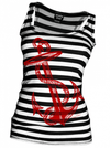 "Women's ""Anchors Aweigh"" Tank (Black/White) by Pinky Star - InkedShop - 4"