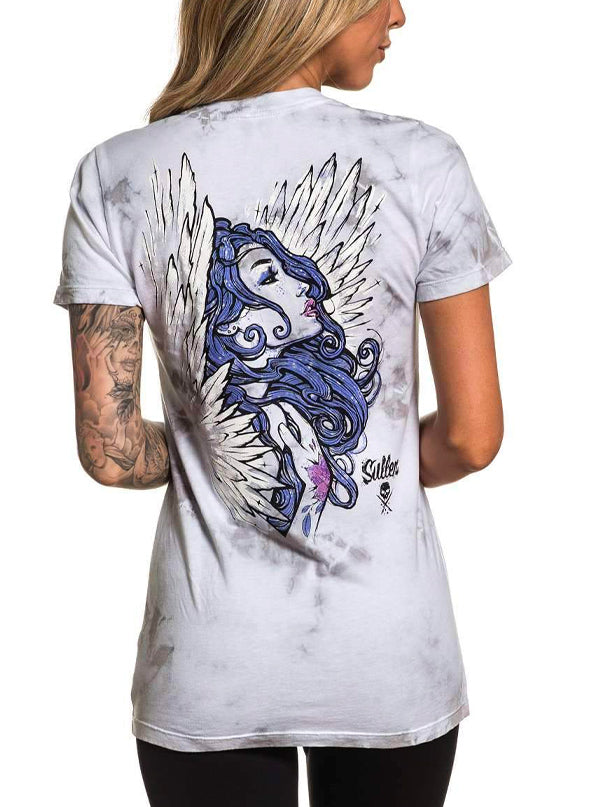 Women's Angel Ink Tee by Sullen (White/Grey)
