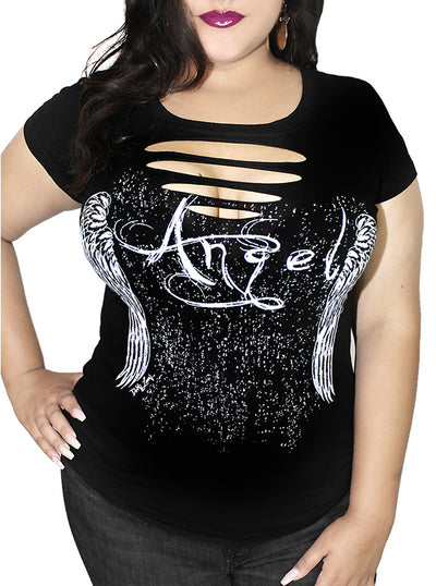 Women's Gothic Angel Slashed Curve Tee by Demi Loon