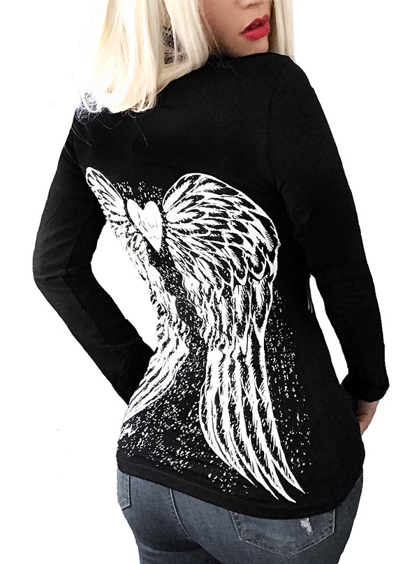 Women's Fallen Angel Wings Long Sleeve Tee by Demi Loon