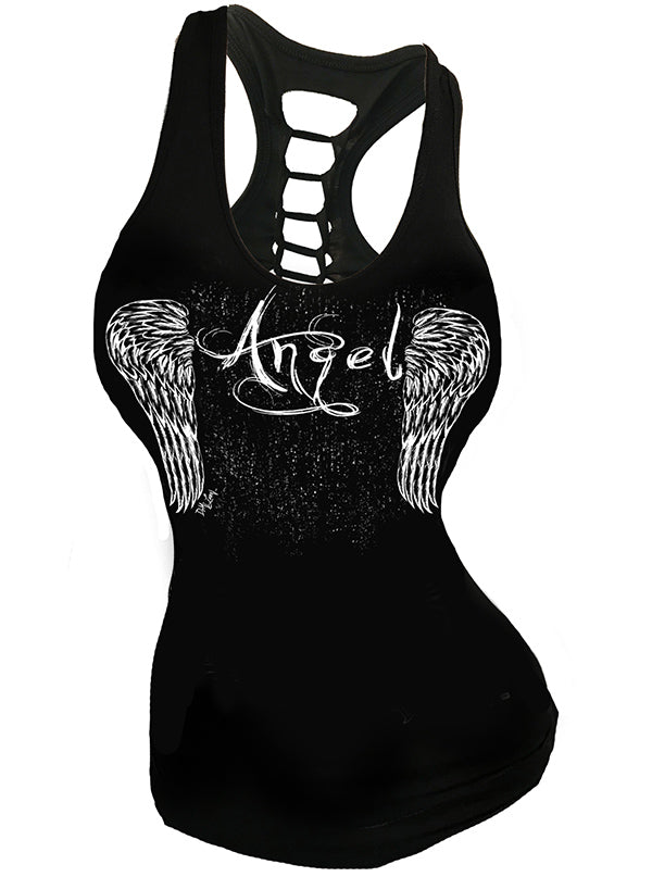 Women's Angel Slashed Back Tank by Demi Loon