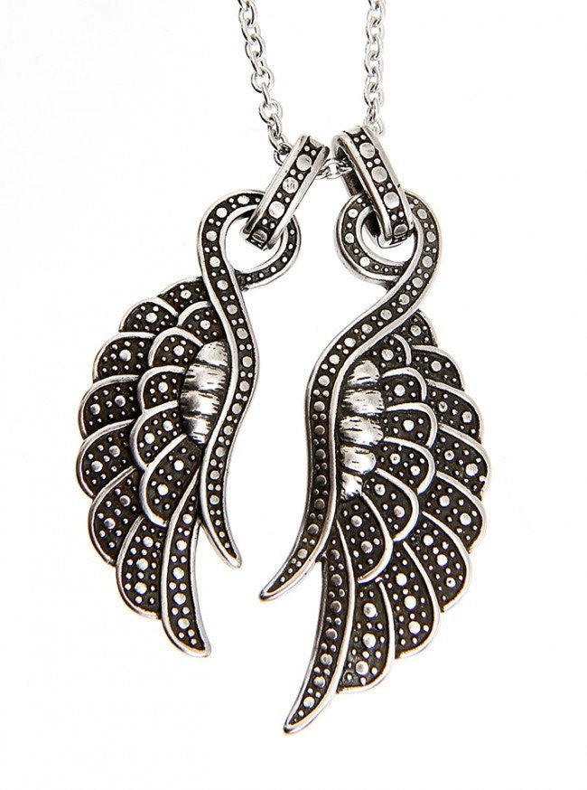 """Angelique Couple Wings"" Necklace by Controse (Silver) - www.inkedshop.com"