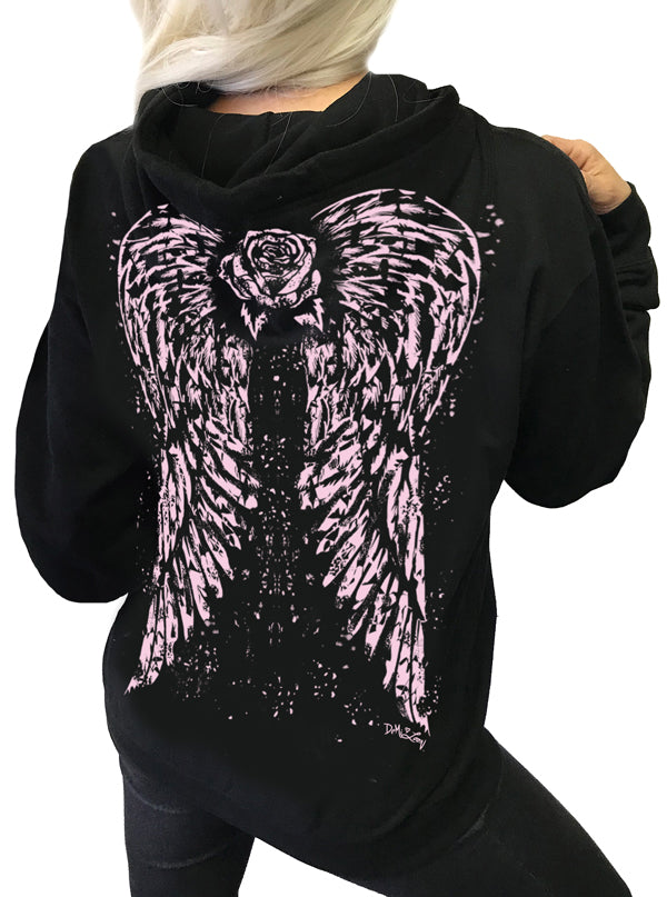 Women's Angel Rose Tattoo Hoodie by Demi Loon