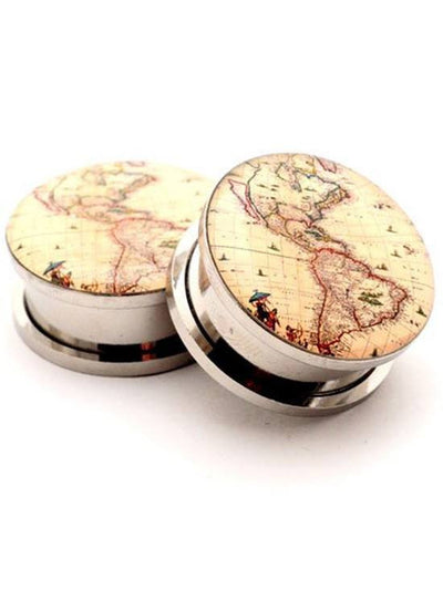 Antique Map Style 1 Plugs by Mystic Metals - www.inkedshop.com