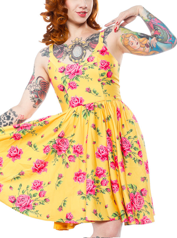 "Women's ""Antique Roses"" Sweets Dress by Sourpuss (Yellow)"