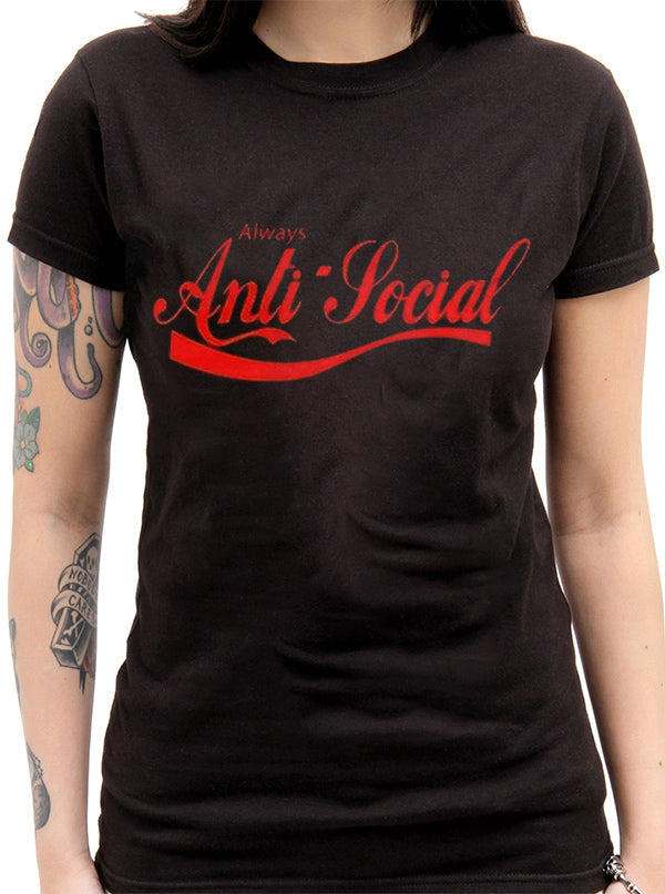 Women's Anti Social Tee by The T-Shirt Whore (Black or White)