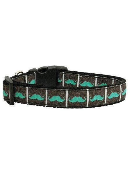 """Aqua Mustaches"" Ribbon Collar by Mirage Pet Products (Black) - www.inkedshop.com"