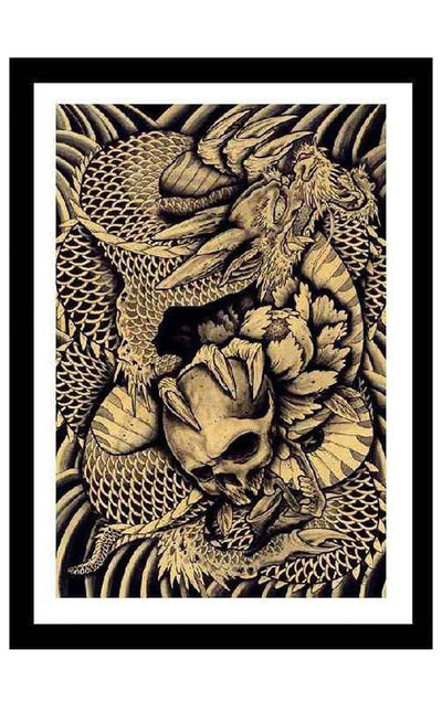 Dragon and Skull by Clark North - InkedShop - 2