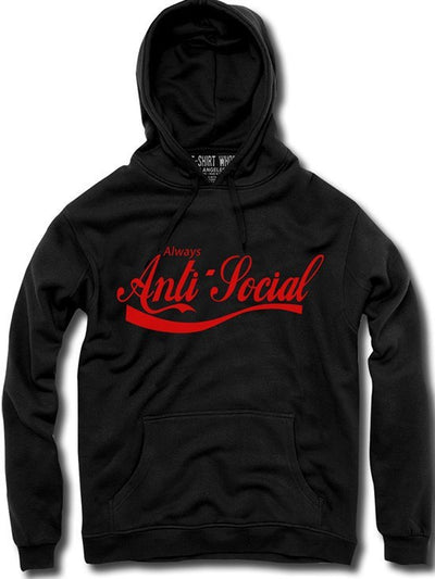 "Unisex ""Anti- Social"" Hoodie by The T-Shirt Whore (Black) - www.inkedshop.com"