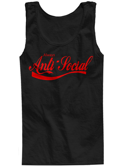 "Men's ""Anti Social"" Tank by The T-Shirt Whore (Black/Red) - www.inkedshop.com"