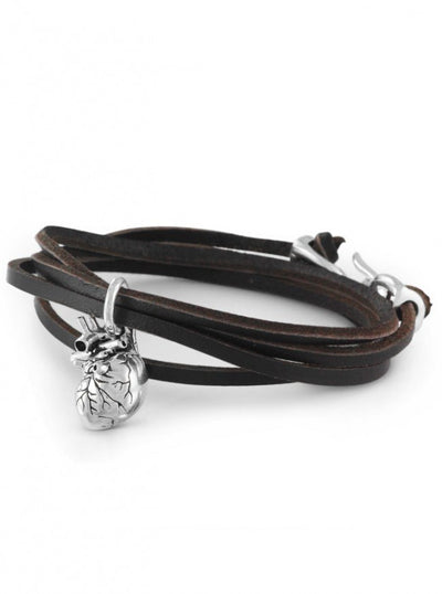 """Anatomical Heart"" Leather Bracelet by Lost Apostle (Antique Silver) - InkedShop - 1"