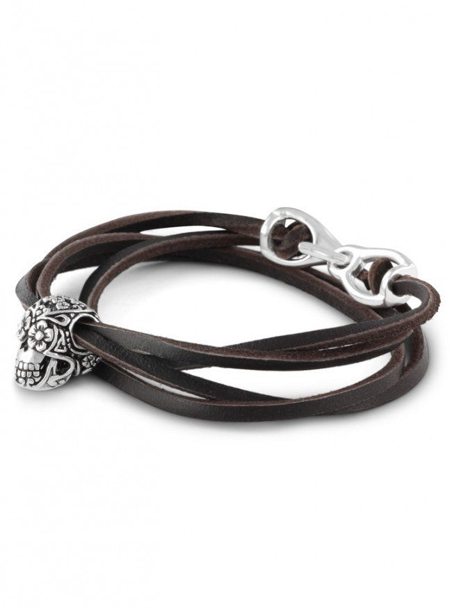 """Day of the Dead"" Leather Bracelet by Lost Apostle (Antique Silver) - InkedShop - 1"