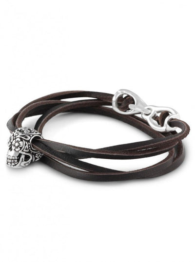 """Day of the Dead"" Leather Bracelet by Lost Apostle (Antique Silver) - InkedShop - 3"