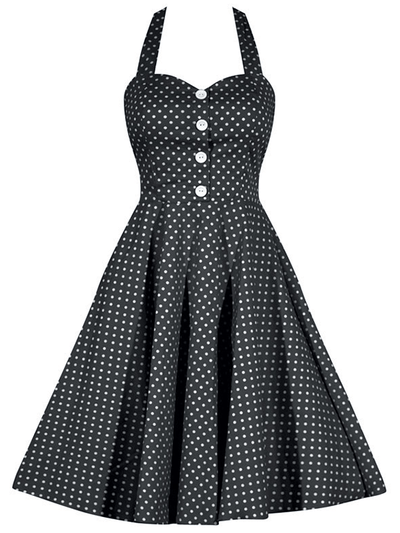 "Women's ""Retro Gal"" Halter Swing Dress by Double Trouble Apparel (Black Polka Dot) - www.inkedshop.com"