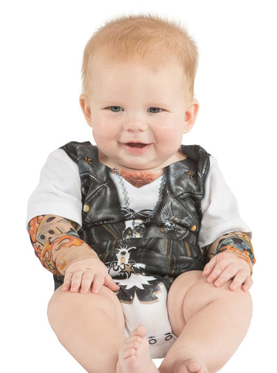 Infant Biker Onesie (White/Grey)