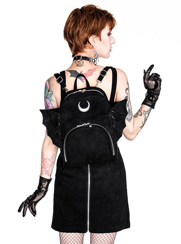 Elegant Goth Backpack with Wings by Restyle