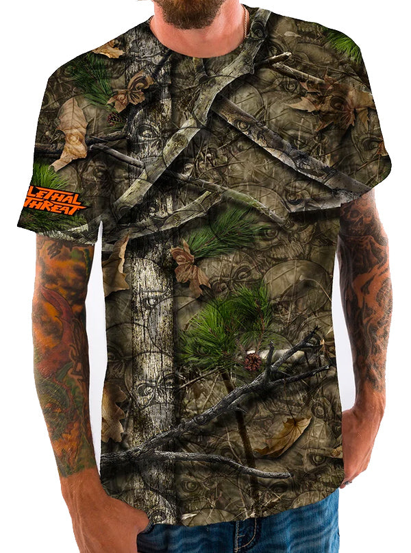 Men's Backwoods Tee by Lethal Threat (Skull Camo)