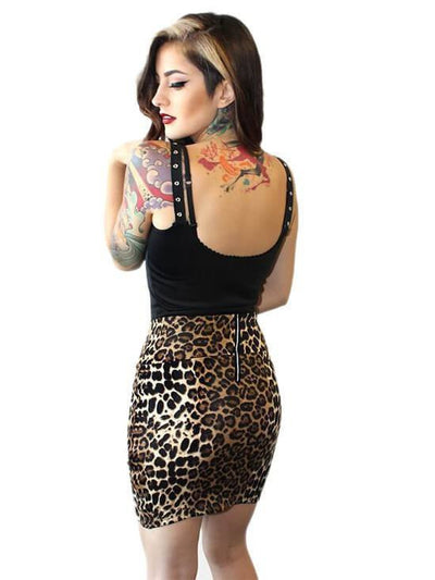 "Women's ""Bad Kitty"" Waist Slimming Skirt by Demi Loon (Leopard) - www.inkedshop.com"