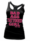 "Women's ""Badass Tattooed Girl"" Tank by Pinky Star (Black) - www.inkedshop.com"