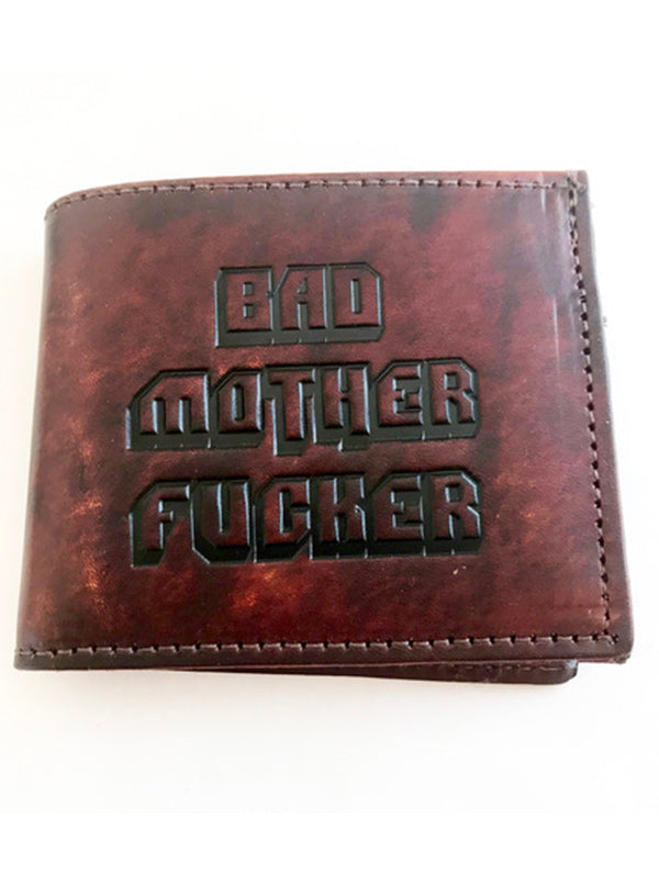 """Bad Mother Fucker"" Bi-Fold Leather Wallet by Gypsy Treasures (Brown)"