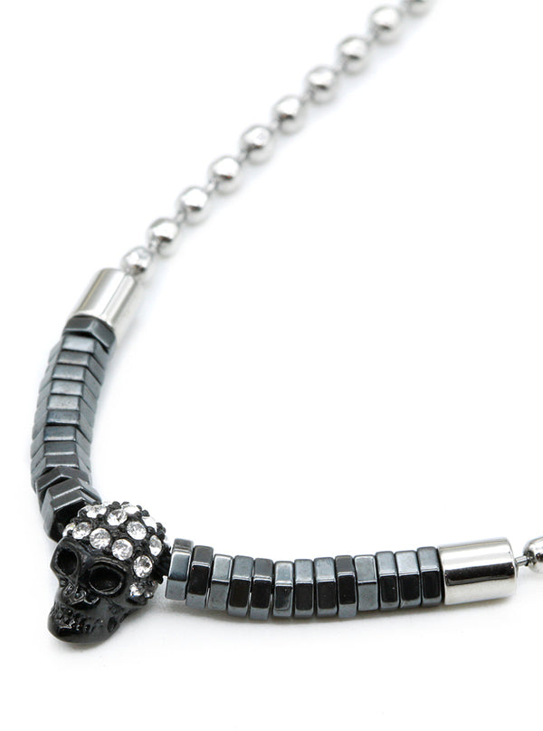 Steel Ball Black Skull Hematite Necklace by Controse