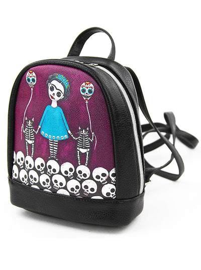 Skeleton Girl with Balloon Cats Mini Backpack