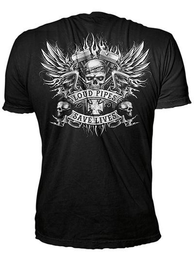 "Men's ""Bandana Skull Loud Pipes"" Tee by Lethal Threat (Black) - www.inkedshop.com"