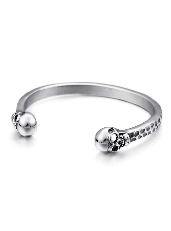 "Unisex ""Silver Skull"" Bangle (Stainless Steel)"