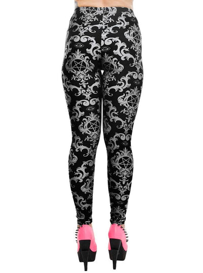 Women's Baroque Gothic Pentagram Addicted Leggings by Rat Baby