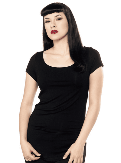 "Women's ""Bat"" Cutout Top by Sourpuss (Black) - www.inkedshop.com"
