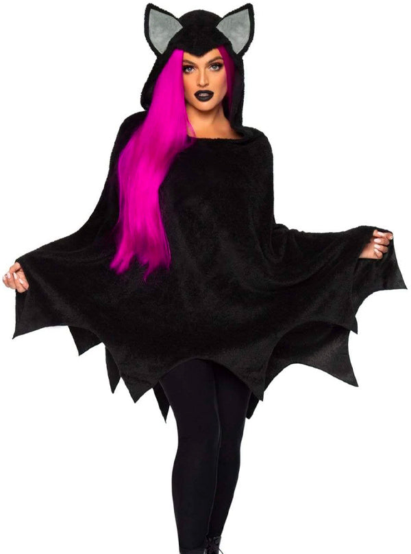 Women's Furry Bat Poncho by Leg Avenue