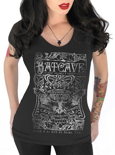 "Women's ""Batcave"" V Neck Tee by Serpentine Clothing (Black) - www.inkedshop.com"