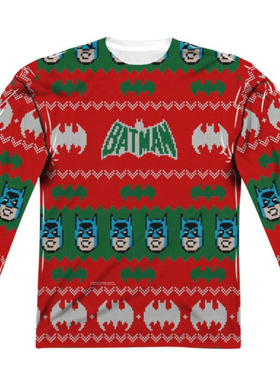 "Men's ""Batman"" Ugly Holiday Sweater Long Sleeve Tee by DC Comics (Red)"