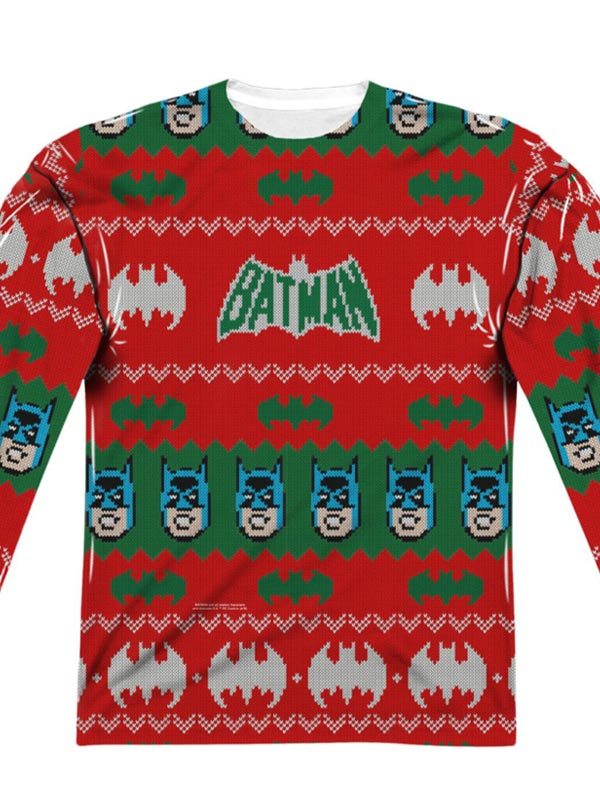 Dc Christmas Sweater.Men S Batman Ugly Holiday Sweater Long Sleeve Tee By Dc Comics
