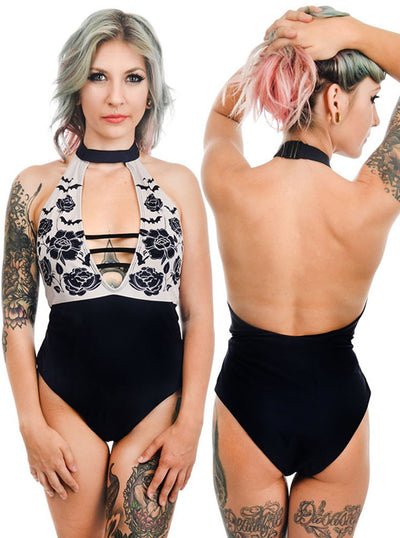 Women's Bats & Roses One Piece Swimsuit by Rat Baby